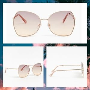 NWT GOLD-TONE SQUARE BUTTERFLY SUNGLASSES